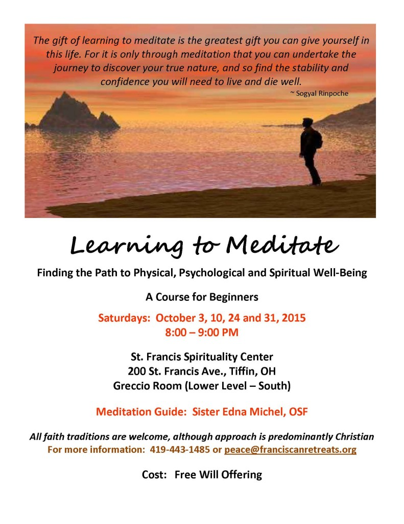 Learn to Meditate Flyer - October 15