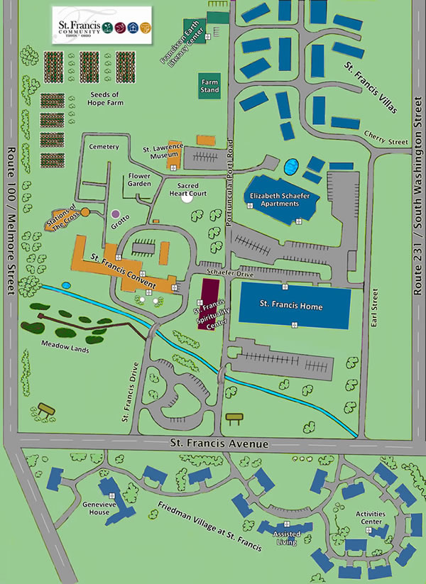 university of st francis campus map Campus Map St Francis Spirituality Center